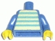 Part No: 973pb0386c01  Name: Torso Idea Book 6000 Bill with Blue and White Stripes Pattern (Sticker) / Blue Arms / Yellow Hands