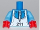 Part No: 973pb0718c01  Name: Torso White Zipper and Ski Bib with Number 211 Pattern / Medium Blue Arms / Red Hands