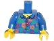 Part No: 973pb1611c01  Name: Torso Hawaiian Shirt with Orange and Red Flowers and Bright Green Leaves Pattern / Blue Arms / Yellow Hands