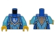 Part No: 973pb2238c01  Name: Torso Nexo Knights Armor with Orange and Gold Circuitry and Blue Emblem with White Chicken Pattern / Medium Azure Arms / Yellow Hands