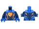 Part No: 973pb2239c01  Name: Torso Nexo Knights Armor with Orange and Gold Circuitry and Falcon on Pentagonal Shield Pattern / Dark Blue Arms / Blue Hands