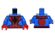 Part No: 973pb2280c01  Name: Torso Spider-Man Costume 6 Black Webs and Large Spiders Pattern / Blue Arms / Red Hands