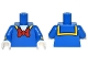 Part No: 973pb2308c01  Name: Torso Sailor Suit with Yellow Collar Trim and Large Red Bow Tie Pattern / Blue Arms with Yellow Stripe Pattern / White Hands