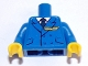 Part No: 973pb4004c01  Name: Torso Pilot Suit with Dark Blue Tie, Badge and 4 Buttons Pattern (Sticker) / Blue Arms / Yellow Hands