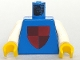 Part No: 973px46c01  Name: Torso Castle Classic Shield Quartered Red/Blue Pattern / White Arms / Yellow Hands
