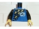Part No: 973px97c01  Name: Torso Divers Dolphin Logo and Yellow Triangles Pattern / Black Arms / Yellow Hands