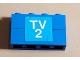 Part No: BA008pb07  Name: Stickered Assembly 4 x 1 x 2 with White 'TV 2' on Blue Background Pattern (Sticker) - Set 664-1 - 2 Brick 1 x 4