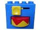 Part No: bb0977  Name: Duplo, Brick 2 x 4 x 2 with Yellow Handle and Yellow/Red Rotating Disc