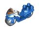 Part No: dupmc3pb04  Name: Duplo Motorcycle with Rubber Wheels, White Handelebars, Headlights and Wonder Woman Logo Pattern