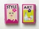 Part No: 33009pb022  Name: Minifigure, Utensil Book 2 x 3 with Girl and 'STYLE' and Vases and 'ART' Pattern (Stickers) - Set 7586