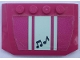 Part No: 52031pb155  Name: Wedge 4 x 6 x 2/3 Triple Curved with Light Aqua Stripes on Magenta Background and Black Musical Notes Pattern (Sticker) - Set 41316