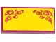 Part No: 87079pb0180  Name: Tile 2 x 4 with Magenta Paisley Shooting Stars on Yellow Background Pattern (Sticker) - Set 41034