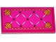 Part No: 87079pb0201  Name: Tile 2 x 4 with Magenta Mattress with Buttons and Gold Shells Pattern (Sticker) - Set 41063