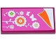 Part No: 87079pb0264  Name: Tile 2 x 4 with Pink Blanket with Flowers and Butterflies and Orange Sheet Pattern (Sticker) - Set 41108