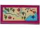 Part No: 87079pb0296  Name: Tile 2 x 4 with Map with Mountains, River, Trees, Hut, Raft and Arrow Pattern (Sticker) - Set 41122