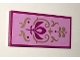 Part No: 87079pb0330  Name: Tile 2 x 4 with Magenta Crest and Gold Scrollwork Pattern (Sticker) - Set 41068