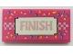 Part No: 87079pb1016  Name: Tile 2 x 4 with Metallic Pink 'FINISH' and Checkered Line, Medium Azure and Bright Light Orange Confetti Pattern (Sticker) - Set 41352