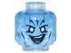 Part No: 3626cpb1110  Name: Minifigure, Head Alien with Medium Blue Face with White Eyes and Lightning Bolts on Forehead Pattern (Electro) - Hollow Stud