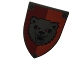 Part No: 18836pb02  Name: Minifigure, Shield Triangular Long with Bear on Red and Dark Red Background Pattern