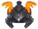 Part No: 24484pb02  Name: Minifigure, Headgear Helmet Ninjago with Cheek Protection and 2 Trans-Orange Snakes Pattern