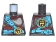 Part No: 973pb2619  Name: Torso Ninjago Pearl Dark Gray and Dark Red Armor, Dark Azure Belt and Strap, Gold Phoenix Emblem Pattern