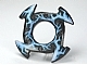 Part No: 98341pb01  Name: Ring 4 x 4 with 2 x 2 Hole and 4 Arrow Ends with Medium Blue and White Lightning Pattern (Ninjago Spinner Crown)