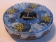 Part No: bb0549c17pb01  Name: Turntable 6 x 6 Round Base Serrated with Trans-Medium Blue Top with Spiral Stars Pattern (Ninjago Spinner)