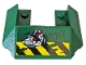Part No: 13269pb008  Name: Wedge 6 x 4 Cutout (Train Roof) with 'R1DCE', Black and Yellow Danger Stripes and Red Gears Pattern (Sticker) - Set 76078