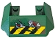 Part No: 13269pb009  Name: Wedge 6 x 4 Cutout (Train Roof) with Black and Yellow Danger Stripes and Red Gears Pattern (Sticker) - Set 76078