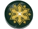 Part No: 14769pb048tr  Name: Tile, Round 2 x 2 with Bottom Stud Holder with Cushion with White Button, Gold Flower and Leaves on Transparent Background Pattern (Sticker) - Set 41075