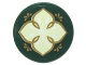 Part No: 14769pb062  Name: Tile, Round 2 x 2 with Bottom Stud Holder with Light Green Leaf with Four Petals and Gold Edges on Transparent Background Pattern (Sticker) - Set 41072