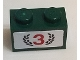 Part No: 3004pb203  Name: Brick 1 x 2 with Red Number 3 and Dark Green Laurel Wreath Pattern (Sticker) - Set 75881