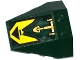 Part No: 48933pb020  Name: Wedge 4 x 4 Triple with Stud Notches with Black Triangle on Yellow Background and Gold Hydraulic Cylinder Pattern (Sticker) - Set 70735