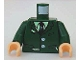 Part No: 973pb0336c01  Name: Torso Harry Potter Torn Suit with Buttons, Shirt and Tie Pattern / Dark Green Arms / Light Nougat Hands