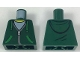 Part No: 973pb2825  Name: Torso Hoodie with Green Ties and Pockets, Silver Zipper over White Shirt and Hood on Back Pattern