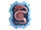 Part No: 54183pb01  Name: Large Figure Shield, 2 x 2 Brick Relief, Snake with Black and Sand Blue Pattern