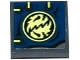Part No: 11203pb015  Name: Tile, Modified 2 x 2 Inverted with Dark Blue Cloth with 4 Eyelets, Ninjago Emblem and Yellowish Green Laces Pattern (Sticker) - Set 70737