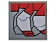 Part No: 11203pb039L  Name: Tile, Modified 2 x 2 Inverted with Dark Red and Light Bluish Gray Stripes Pattern Model Left Side (Sticker) - Set 76104