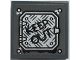 Part No: 11203pb070  Name: Tile, Modified 2 x 2 Inverted with Black 'KEEP OUT' on Silver Tread Plate Panel Pattern (Sticker) - Set 70435