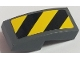 Part No: 11477pb041L  Name: Slope, Curved 2 x 1 with Black and Yellow Danger Stripes Pattern Left (Sticker) - Sets 60121 / 60122