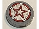 Part No: 14769pb408  Name: Tile, Round 2 x 2 with Bottom Stud Holder with Red Guardian Shield with Star Pattern (Sticker) - Set 77905