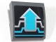 Part No: 15068pb136  Name: Slope, Curved 2 x 2 with Silver and Medium Azure Circuitry and Arrow Pattern (Sticker) - Set 70165