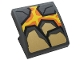 Part No: 15068pb208  Name: Slope, Curved 2 x 2 with Dark Bluish Gray and Pearl Gold Rock, Orange and Yellow Lava Pattern (Sticker) - Set 76128