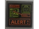 Part No: 15210pb028  Name: Road Sign 2 x 2 Square with Open O Clip with 'DANGER,' Map, Minifigure Head and 'ALERT !' Pattern (Sticker) - Set 75902