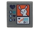 Part No: 15210pb058  Name: Road Sign 2 x 2 Square with Open O Clip with Bunny on Orange Square Pattern (Sticker) - Set 41403