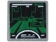 Part No: 15210pb064  Name: Road Sign 2 x 2 Square with Open O Clip with Dark Green Video Game Display with White Semicircle and Stripes Pattern (Sticker) - Set 71712