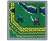 Part No: 15210pb065  Name: Road Sign 2 x 2 Square with Open O Clip with Video Game Display with Blue and Dark Red Ninja on Green Background Pattern (Sticker) - Set 71712