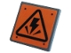 Part No: 15210pb082  Name: Road Sign 2 x 2 Square with Open O Clip with Electricity Danger Sign and 4 Rivets on Orange Background Pattern (Sticker) - Set 75937