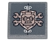 Part No: 15210pb091  Name: Road Sign 2 x 2 Square with Open O Clip with Copper Crossed Wrenches, Shield, Scribble Cop Head and Rivets Pattern (Sticker) - Set 70840