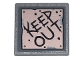 Part No: 15210pb092  Name: Road Sign 2 x 2 Square with Open O Clip with Copper Plate with 'KEEP OUT' and Metal Rivets Pattern (Sticker) - Set 70840